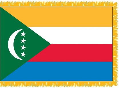 FWI-240-4X6COMOROS Comoros 4' x 6' Indoor Flag with Pole Sleeve and Fringe-0