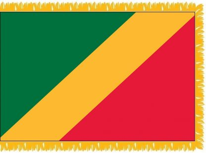 FWI-230-3X5CONGO-UN Republic of the Congo 3' x 5' Indoor Flag with Pole Sleeve and Fringe-0