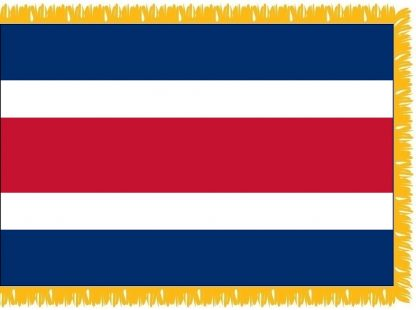 FWI-210-3X5COSTARICA Costa Rica 3' x 5' Indoor Flag with Pole Sleeve and Fringe-0