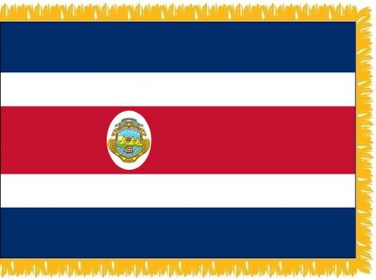 FWI-230-3X5COSTARICA Costa Rica with Seal 3' x 5' Indoor Flag with Pole Sleeve and Fringe-0