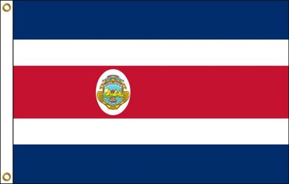 FW-130-COSTARICA Costa Rica with Seal 2' x 3' Outdoor Nylon Flag with Heading and Grommets-0