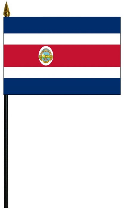 "MRF-46-COSTARICA-S Costa Rica w/Seal 4'' x 6"" Staff Mounted Rayon-0"