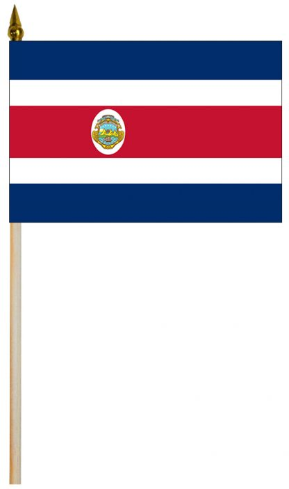 """EPC-1218-COSTARICA-S Costa Rica with Seal 12'' x 18"""" Staff-mounted Polyester Stick Flag-0"""