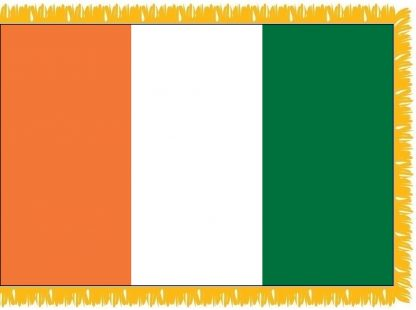 FWI-210-3X5COTEDIVO Cote D'Ivoire 3' x 5' Indoor Flag with Pole Sleeve and Fringe-0