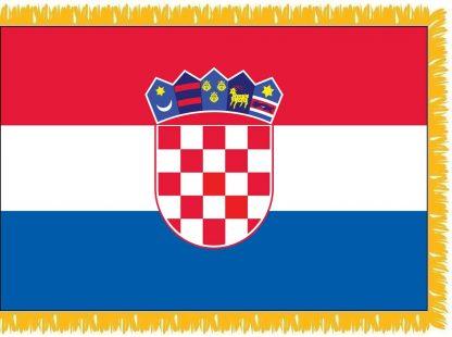 FWI-240-3X5CROATIA Croatia 3' x 5' Indoor Flag with Pole Sleeve and Fringe-0