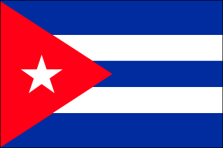 "EPC-1218-CUBA Cuba 12'' x 18"" Staff-mounted Polyester Stick Flag-33080"
