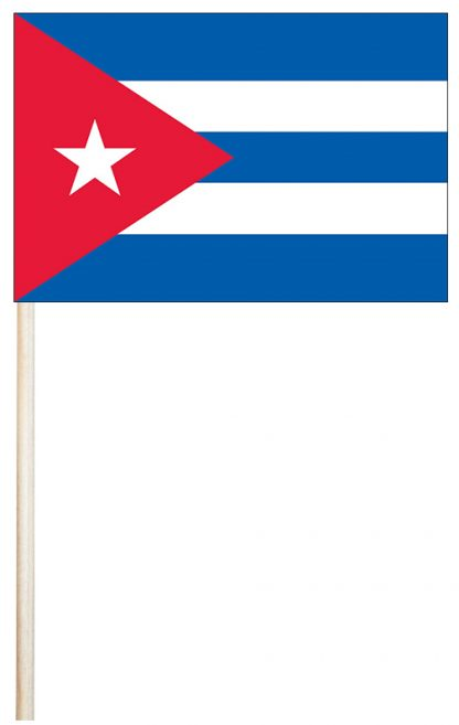 "ECM-46-CUBA Cuba 4'' x 6"" Mtd Cotton Stick Flag-0"