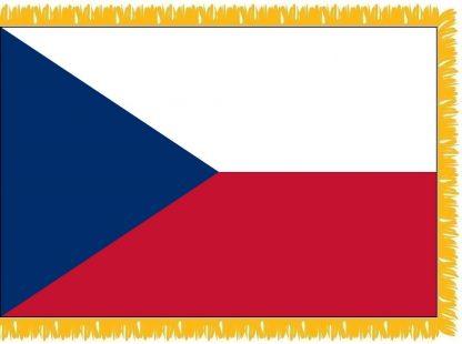 FWI-220-4X6CZECHREPU Czech Republic 4' x 6' Indoor Flag with Pole Sleeve and Fringe-0