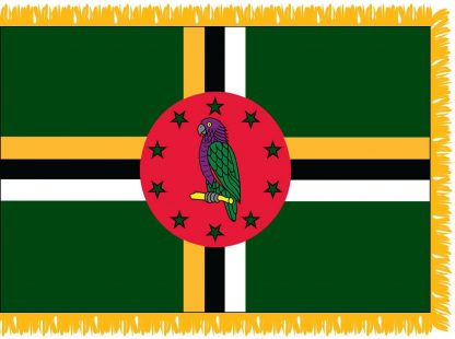 FWI-240-3X5DOMINICA Dominica 3' x 5' Indoor Flag with Pole Sleeve and Fringe-0