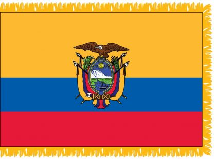 FWI-230-4X6ECUADOR Ecuador with Seal 4' x 6' Indoor Flag with Pole Sleeve and Fringe-0