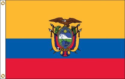 035071 Ecuador with Seal 6' x 10' Outdoor Flag with Heading and Grommets-0