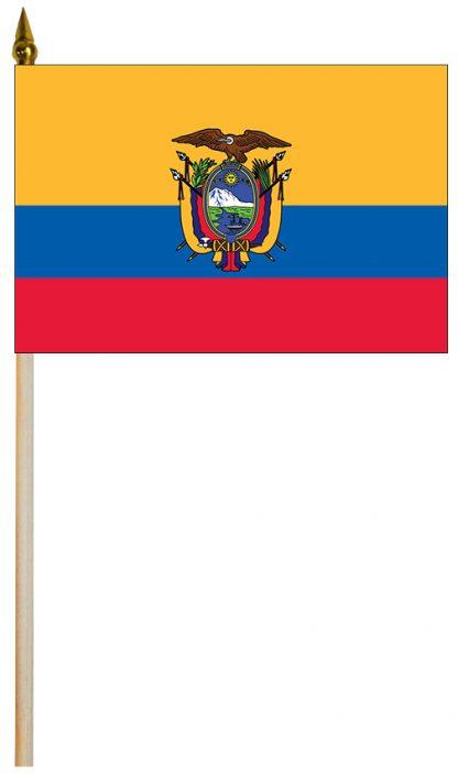 """EPC-1218-ECUADOR-S Ecuador with Seal 12'' x 18"""" Staff-mounted Polyester Stick Flag-0"""