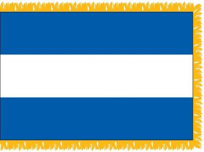 FWI-210-3X5ELSALVADO El Salvador 3' x 5' Indoor Flag with Pole Sleeve and Fringe-0