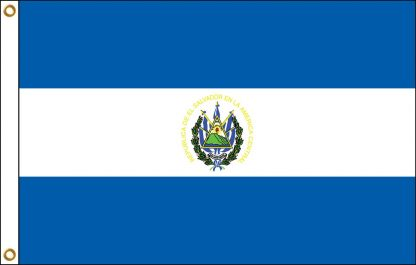 FW-135-4X6ELSAL-S El Salvador with Seal 4' x 6' Outdoor Nylon Flag with Heading and Grommets-0