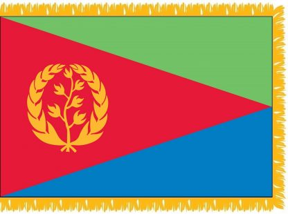 FWI-235-4X6ERITREA Eritrea 4' x 6' Indoor Flag with Pole Sleeve and Fringe-0