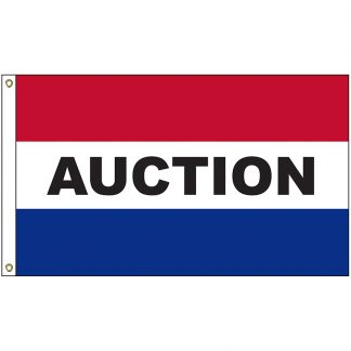 A-120001 Auction 3' x 5' Flag with Heading and Grommets-0
