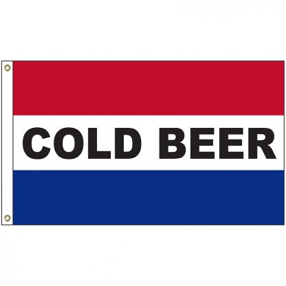 A-120015 Cold Beer 3' x 5' Flag with Heading and Grommets-0