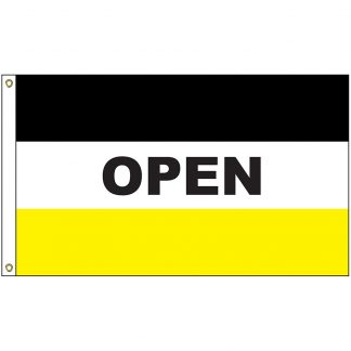 A-120050 Open Black and Yellow 3' x 5' Flag with Heading and Grommets-0