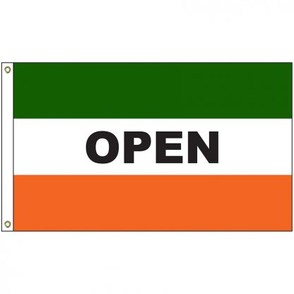 A-120051 Open Green and Orange 3' x 5' Flag with Heading and Grommets-0