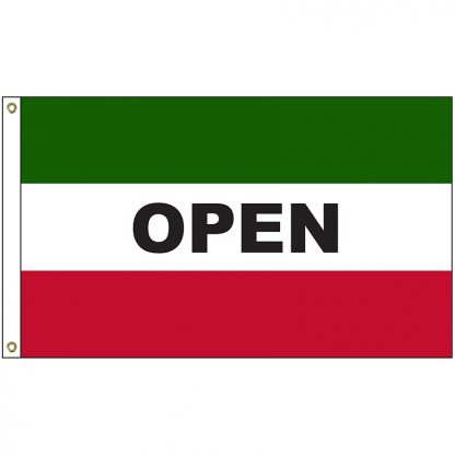 A-120052 Open Green and Red 3' x 5' Flag with Heading and Grommets-0