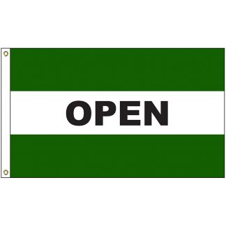 A-120053 Open Green 3' x 5' Flag with Heading and Grommets-0