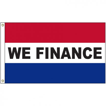 A-120083 We Finance 3' x 5' Flag with Heading and Grommets-0