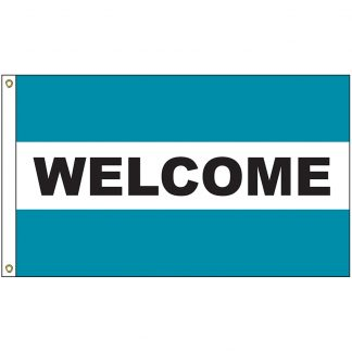 A-120089 Welcome Teal 3' x 5' Flag with Heading and Grommets-0