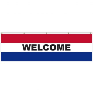 A-6100HF Welcome 3' x 10' Horizontal Flag with Heading and Grommets across the Top-0