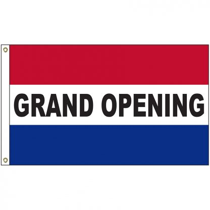 A-6101 Grand Opening 3' x 5' Flag with Heading and Grommets-0