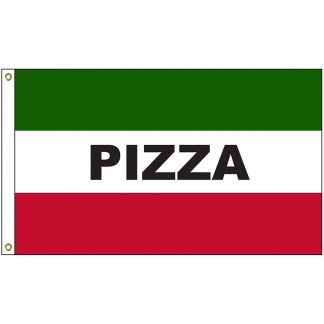 A-7058 Pizza 3' x 5' Flag with Heading and Grommets-0