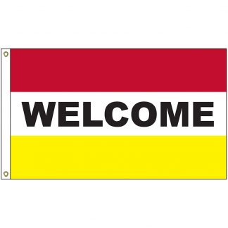 A-7087 Welcome Red and Yellow 3' x 5' Flag with Heading and Grommets-0