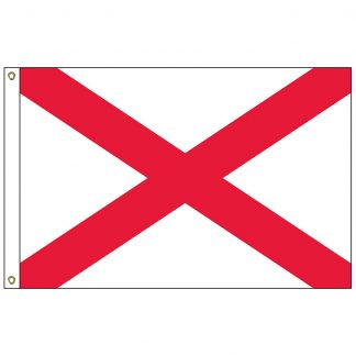 SF-103P-ALABAMA Alabama 3' x 5' 2-ply Polyester Flag with Heading and Grommets-0