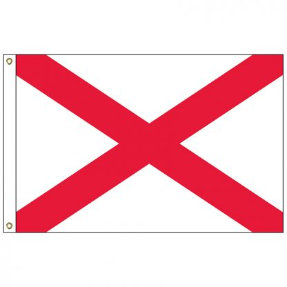 SF-104P-ALABAMA Alabama 4' x 6' 2-ply Polyester Flag with Heading and Grommets-0