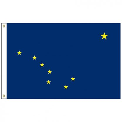 SF-105P-ALASKA Alaska 5' x 8' 2-ply Polyester Flag with Heading and Grommets-0