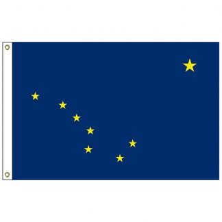 SF-103P-ALASKA Alaska 3' x 5' 2-ply Polyester Flag with Heading and Grommets-0