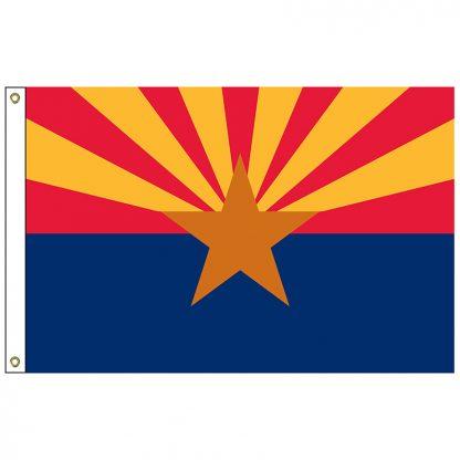 SF-102-ARIZONA Arizona 2' x 3' Nylon Flag with Heading and Grommets-0