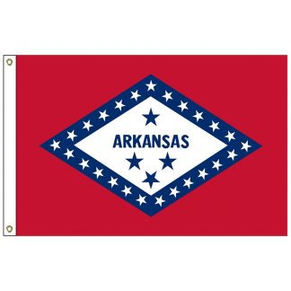 SF-104P-ARKANSAS Arkansas 4' x 6' 2-ply Polyester Flag with Heading and Grommets-0