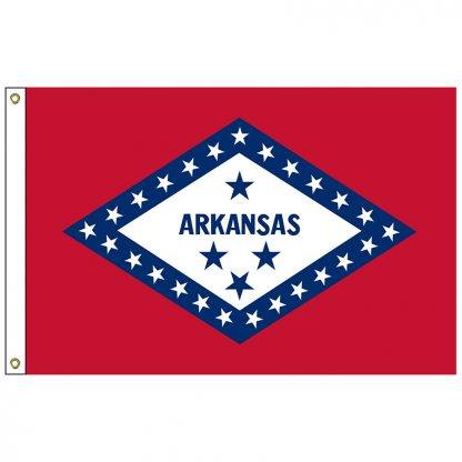 SF-103P-ARKANSAS Arkansas 3' x 5' 2-ply Polyester Flag with Heading and Grommets-0