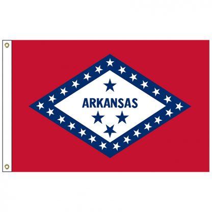 SF-102-ARKANSAS Arkansas 2' x 3' Nylon Flag with Heading and Grommets-0