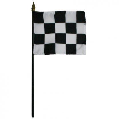 "BWS-46 Checkered 4"" x 5"" Staff Mounted Rayon Flag-0"