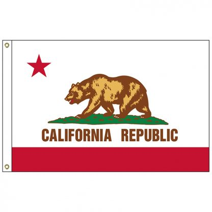 SF-105P-CALIFORNIA California 5' x 8' 2-ply Polyester Flag with Heading and Grommets-0