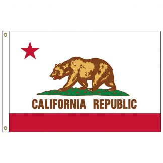 SF-104P-CALIFORNIA California 4' x 6' 2-ply Polyester Flag with Heading and Grommets-0