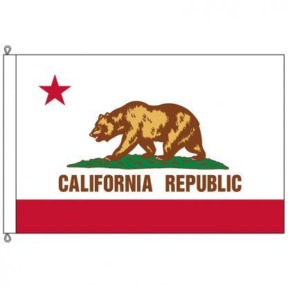 SF-812-CALIFORNIA California 8' x 12' Nylon Flag with Rope and Thimble-0