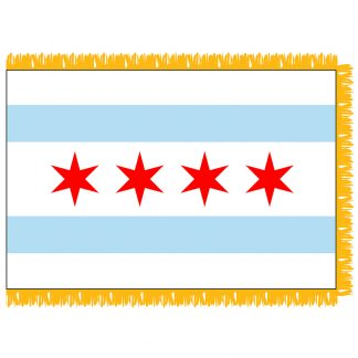 CHIPF-35 Chicago 3' x 5' Flag with Pole Sleeve and Fringe-0