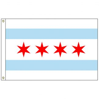 CF-5X8-CHICAGO Chicago 5' x 8' Nylon Flag with Heading and Grommets-0