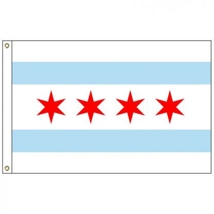 CF-3X5-CHICAGO Chicago 3' x 5' Nylon Flag with Heading and Grommets-0