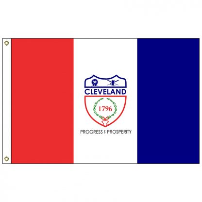 CF-3X5-CLEVELAND Cleveland 3' x 5' Nylon Flag with Heading and Grommets-0