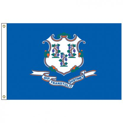 """SF-101-CONNECTICUT Connecticut 12"""" x 18"""" Nylon Flag with Heading and Grommets-0"""
