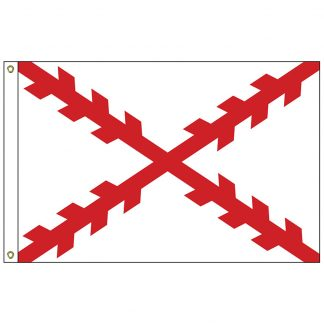 HF-412 Cross of Burgundy 3' x 5' Outdoor Nylon Flag with Heading and Grommets-0