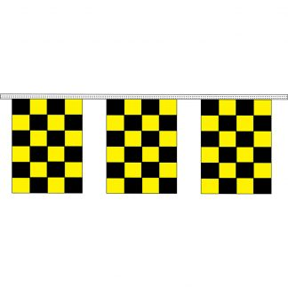 "CRS-100K 9"" x 12"" Black & Yellow Checkered 4 mil. 100' Pennant Strings-0"